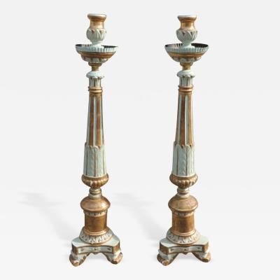 18th C Italian Gilt and Paint Candle Prickets