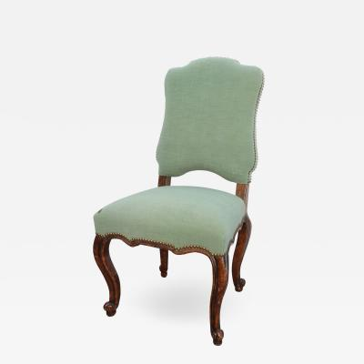 18th C Louis XV French Provincial Green Upholstered Side Chair