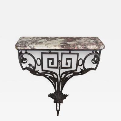 18th C Louis XVI French Iron Console With Marble Top