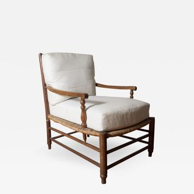 18th C Provencal Ladder Back Rush Chaise France