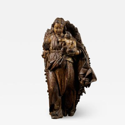 18th C Religious Spanish School Gilded Sculpture of the Virgin and Child
