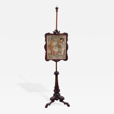 18th C Scottish Regency Fire Screen with Needlepoint