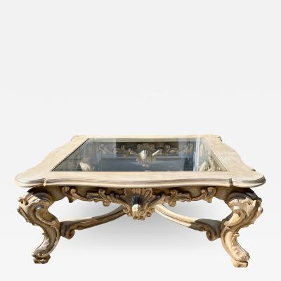 18th C Style Carved Italian Rococo Giltwood Coffee Cocktail Table