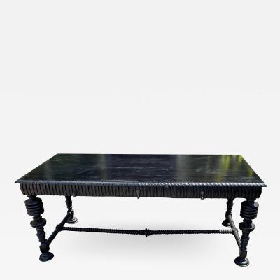 18th C Style Portuguese Ebonised Mahogany Writing Table Desk