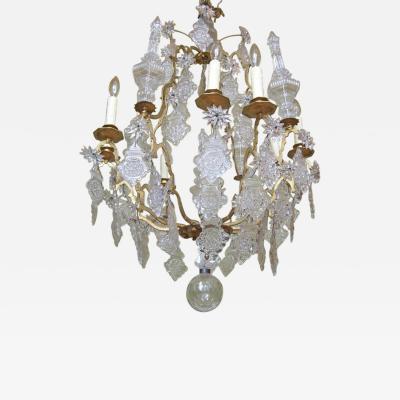18th C Venetian Rococo Crystal and Bronze Chandelier