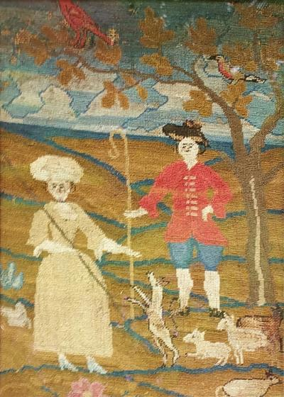18th CENTURY BOSTON SCHOOL EMBROIDERY