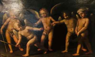 18th Century Alegorial Framed Oil on Canvas Playing Cherubs