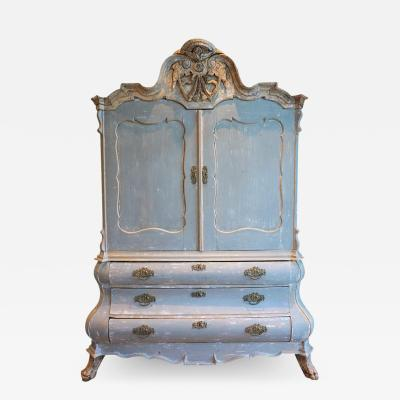 18th Century Baroque Hollandaise Painted Buffet Deux Corp