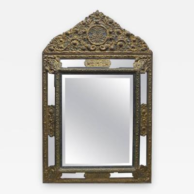 18th Century Bronze Dutch Beveled Mirror with Floral Repousse Pattern