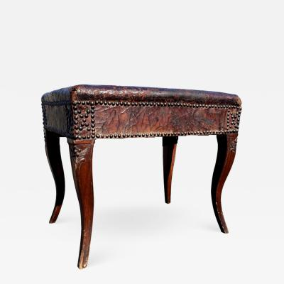18th Century Carved Walnut Bench Stool From Provence