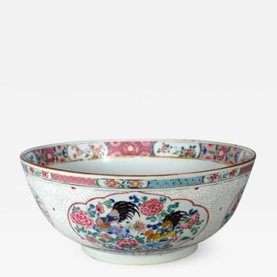 18th Century Chinese Export Porcelain Large Famille Rose Punch Bowl