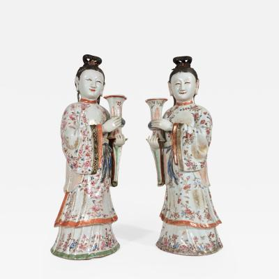 18th Century Chinese Export Porcelain Pair of Maiden Candlesticks