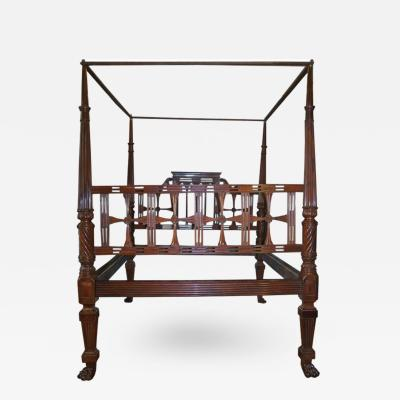18th Century East Indies Mahogany Raj Bed with Paws