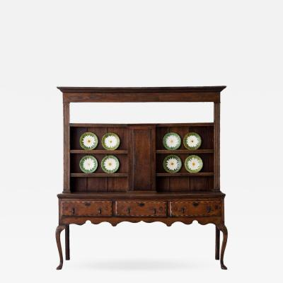 18th Century English Georgian Hutch Welsh Dresser in Two Parts