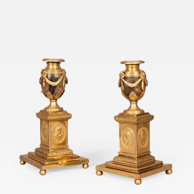 18th Century English Pair of Blue John Stone and Ormolu Candle Stick Vases