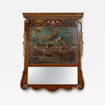 18th Century English Trumeau Mirror with Oil Painting