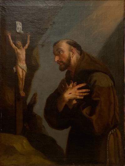 18th Century Framed Oil Painting of St Francis