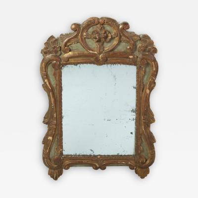 18th Century French Baroque Paint Parcel Gilt Mirror Frame With Mercury Plate