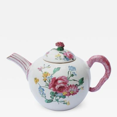 18th Century French Faience hand painter teapot