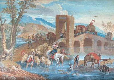 18th Century French Genre Painting Caravan