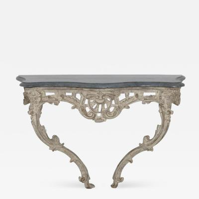 18th Century French Louis XV Period Console Table With Blue Turquin Marble Top