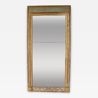 18th Century French Louis XVI Period Parcel Gilt Bastide Trumeau Mirror