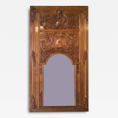 18th Century French Oak Trumeau Mirror From A Broisserie
