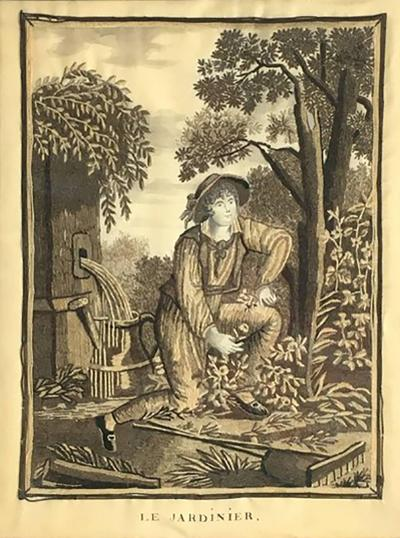18th Century Garden Themed Needlepoint Portrait