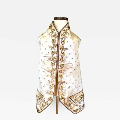 18th Century Gentlemans Court Suit Waistcoat with Polychrome Embroidery
