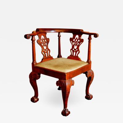 18th Century George II Mahogany Corner Chair