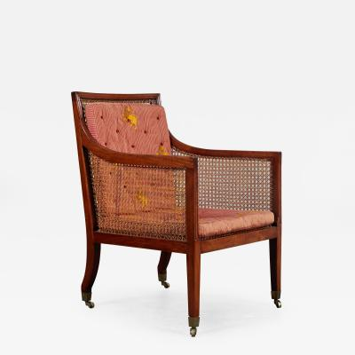 18th Century George III Mahogany Library Chair on Castors
