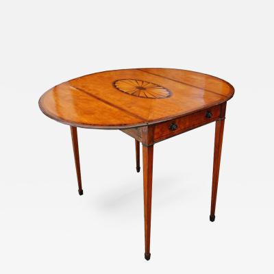 18th Century George III Mahogany Pembroke Table with Inlaid Fan