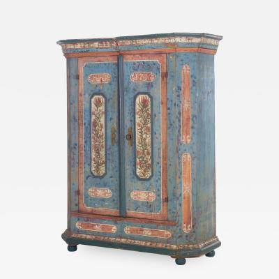 18th Century German Bavarian Blue Painted Antique Kas Armoire Cabinet