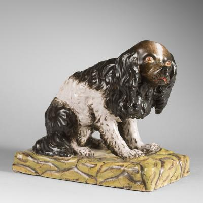 18th Century German Figure of a King Charles Spaniel