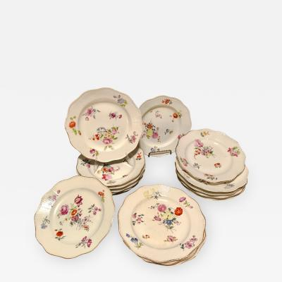 18th Century Hand Painted French Soft Paste Porcelain Dinner Plates Set of 16