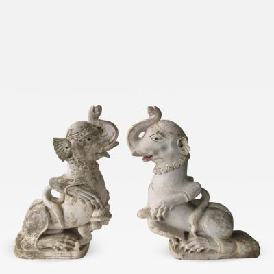 18th Century Indian Pair of Sandstone Statues