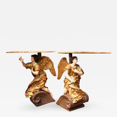 18th Century Italian Baroque Basilica Angel Tables