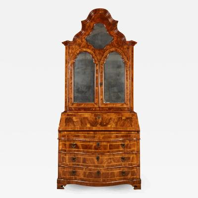 18th Century Italian Baroque Walnut and Fruitwood Secretary