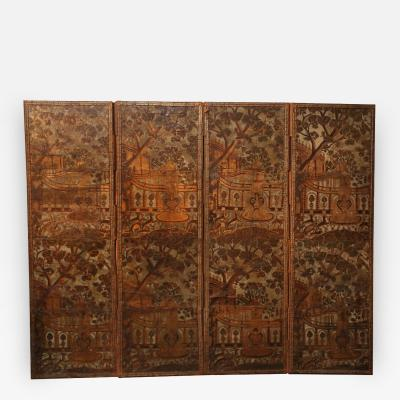 18th Century Italian Four Panel Leather Screen