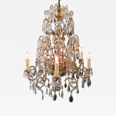 18th Century Italian Genovese Chandelier with Finely Carved Giltwood and Crystal