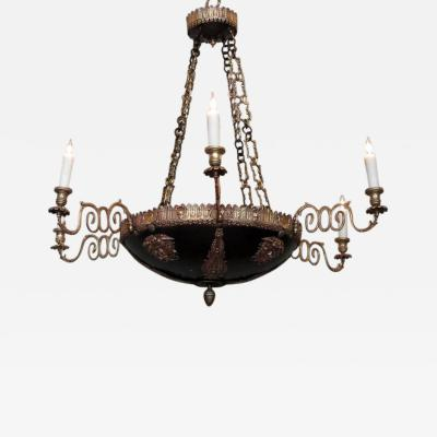 18th Century Italian Neoclassical Patinated Bronze Chandelier
