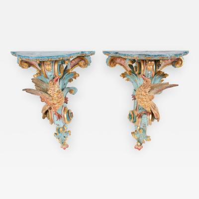 18th Century Italian Rococo Pine Wall Brackets