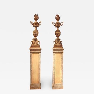 18th Century Italian Torchieres on Early 20th Century Plinths