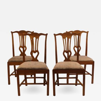 18th Century Provincial Walnut Side Chairs Set of 4