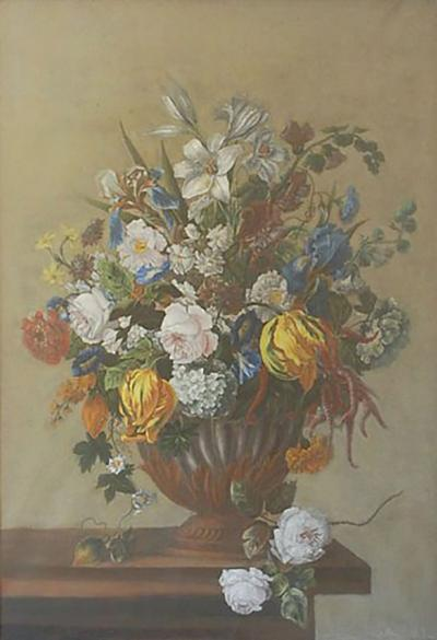 18th Century Style Framed Pastel Bouquet Drawing