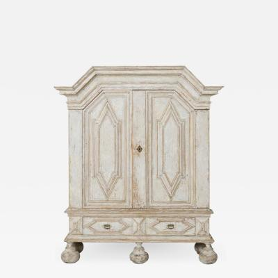 18th Century Swedish Baroque Period Linen Press Armoire Cabinet