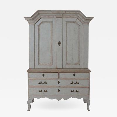 18th Century Swedish Baroque Period Linen Press Cabinet