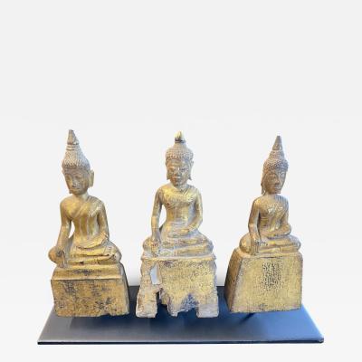 18th Century Three Sitting Buddhas on Pedestals