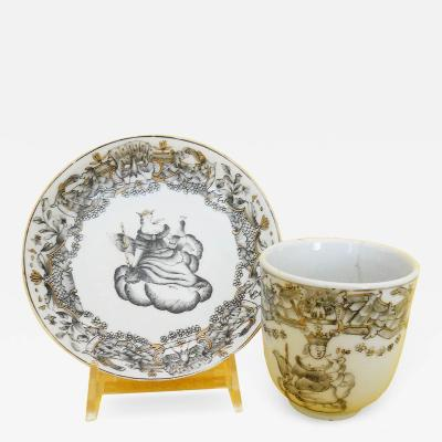 18th c Chinese Export Porcelain coffee cup and saucer with Juno and her Peacock