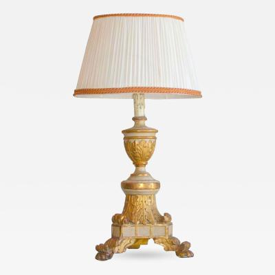 18th c Italian Painted and Parcel Gilt Table Lamp